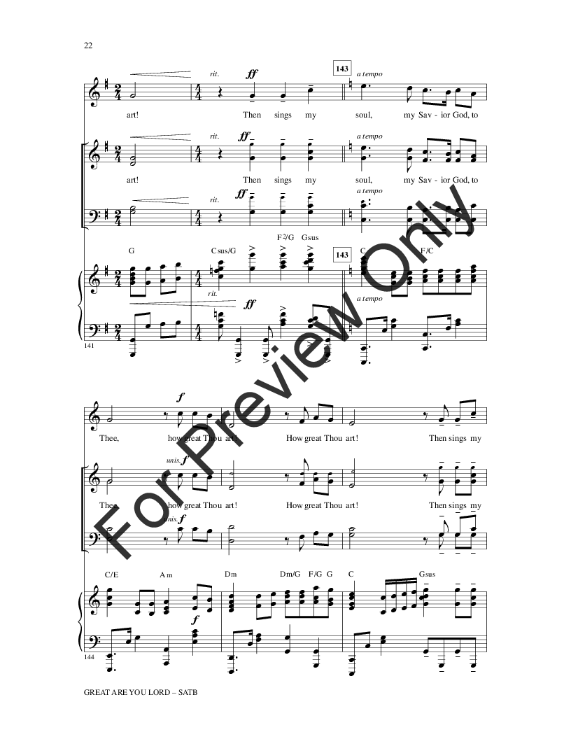 Great Are You, Lord (SATB ) arr  Heather Sor | J W  Pepper Sheet Music