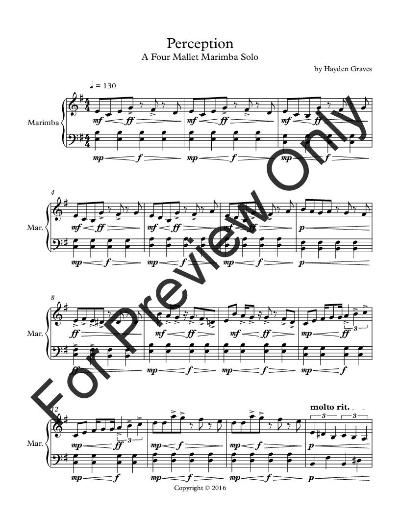 Perception (Marimba Solo ) by Hayden Gr   J W  Pepper Sheet