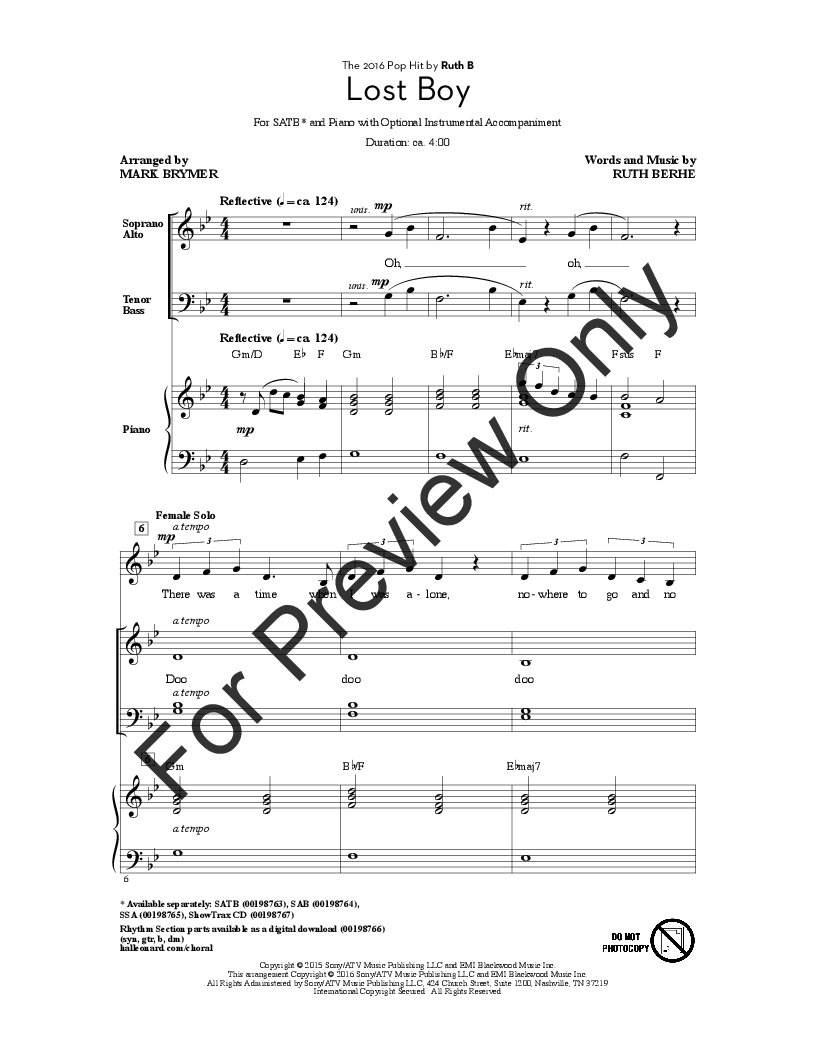 graphic about Lost Boy Piano Sheet Music Free Printable named Missing Boy (SATB ) as a result of Ruth Berhe/arr. Mark Bry J.W. Pepper