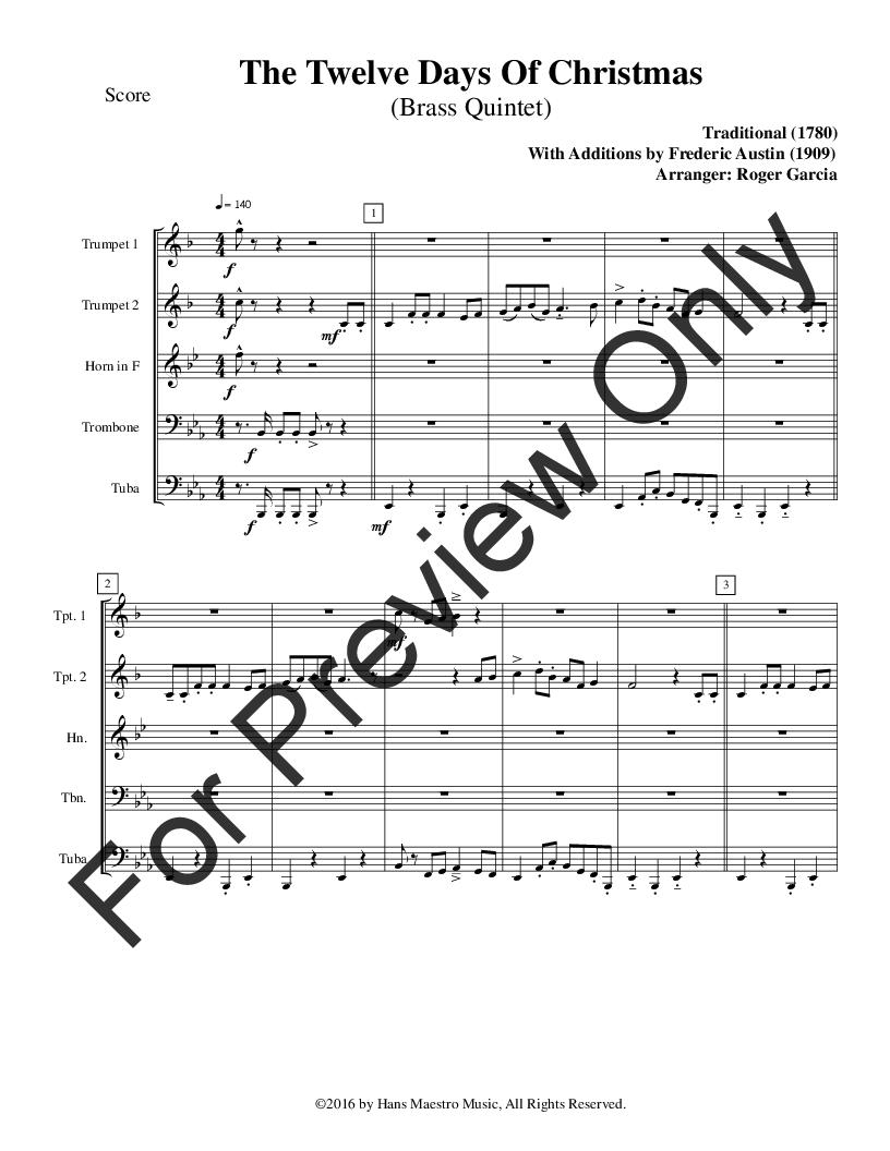 Twelve Days Of Christmas Sheet Music.The Twelve Days Of Christmas Brass Quintet J W Pepper