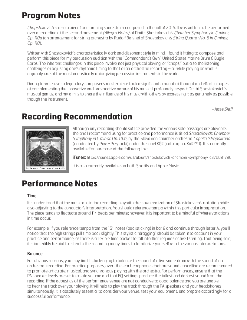 Chopstakovich (Snare Drum Solo for marc | J W  Pepper Sheet Music