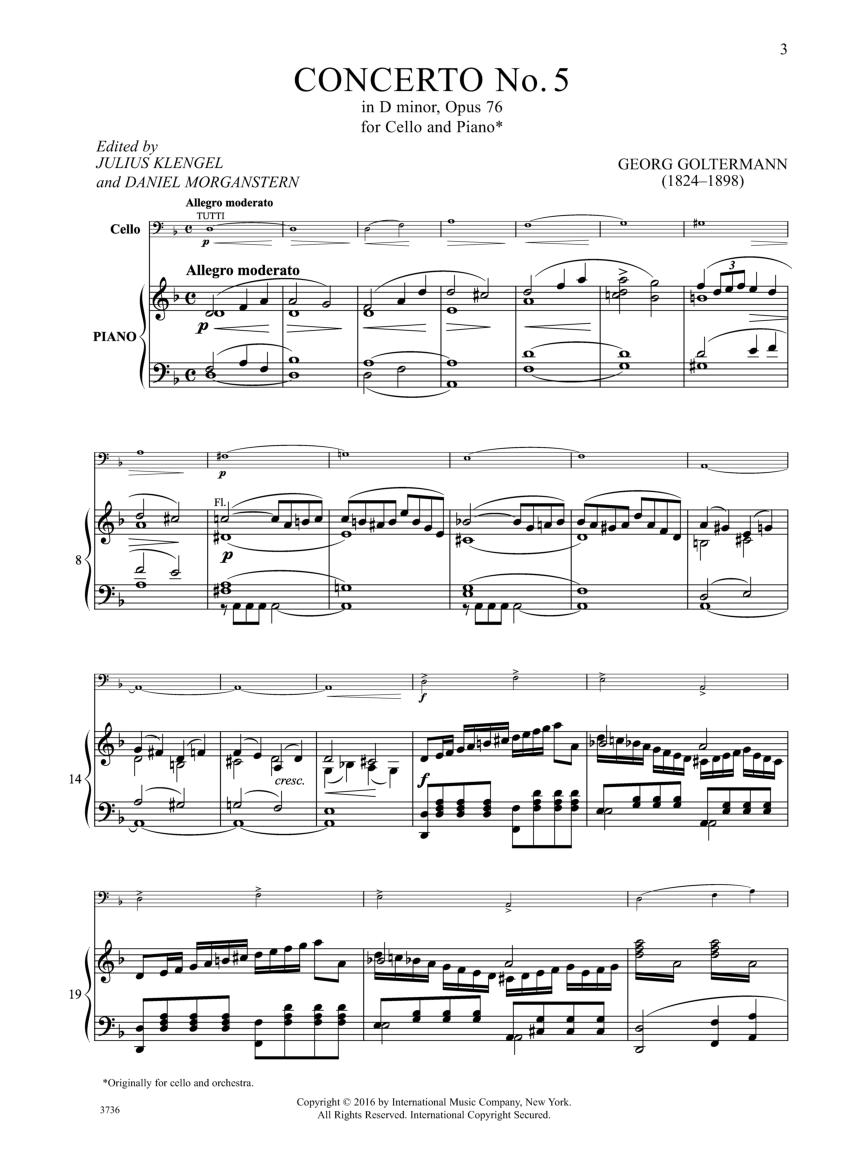 Concerto No  5 in D minor, Op  76 (Cello Sol | J W  Pepper