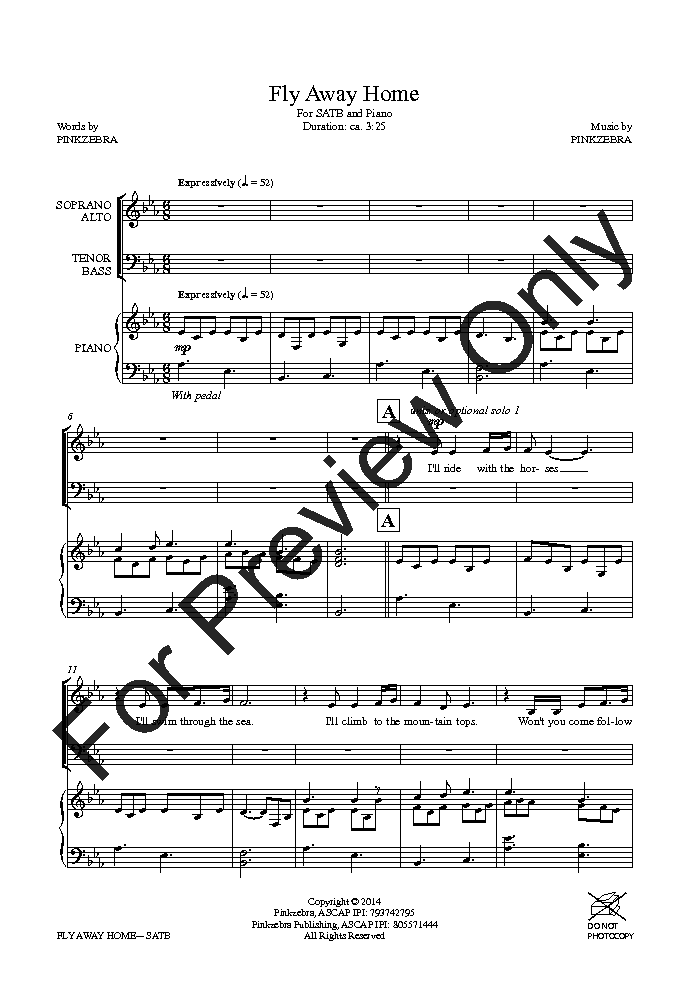 Fly Away Home (SATB ) by Pinkzebra| J W  Pepper Sheet Music