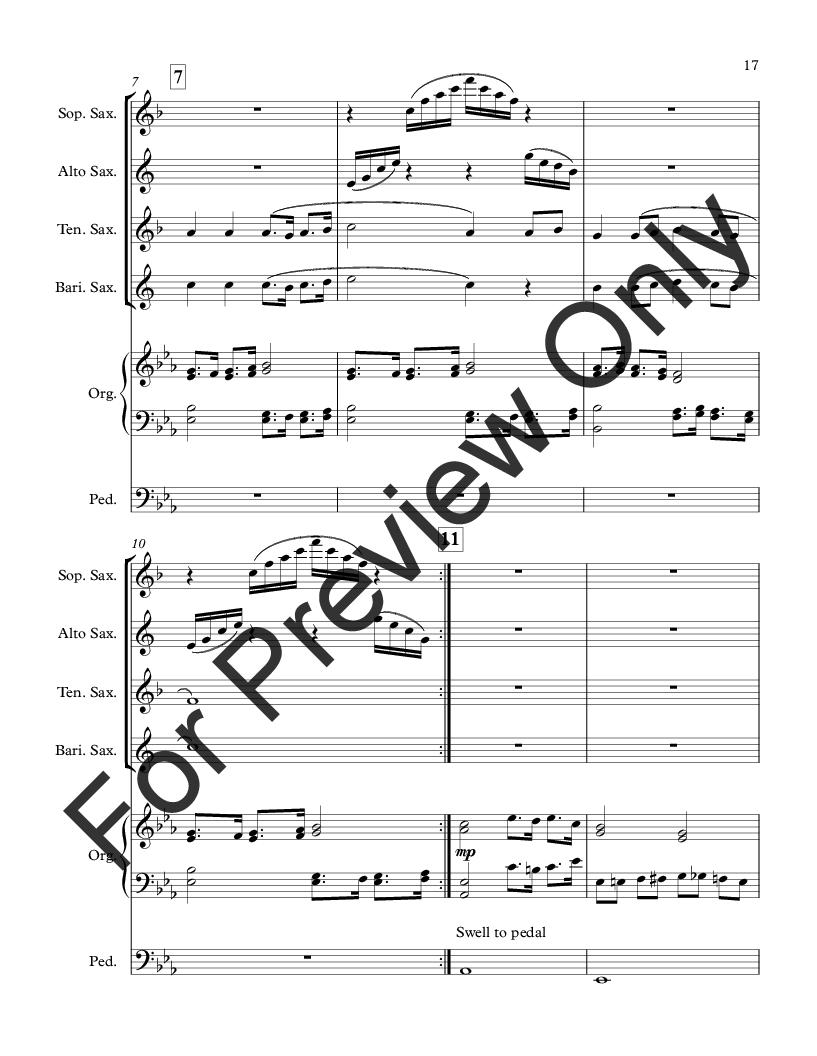 Three American Hymns for Saxophone Quartet and Organ Thumbnail