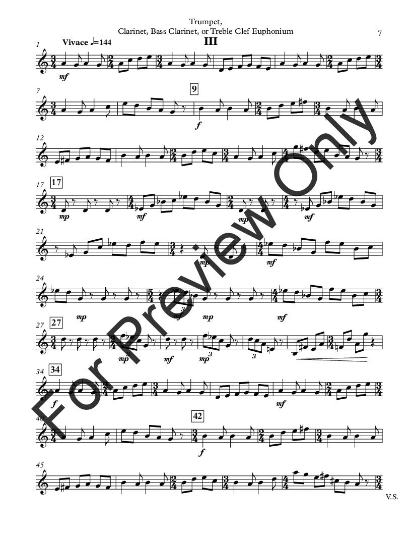 Sonatina for Unaccompanied Trumpet, Clarinet, Bass Clarinet or Euphonium TC Thumbnail