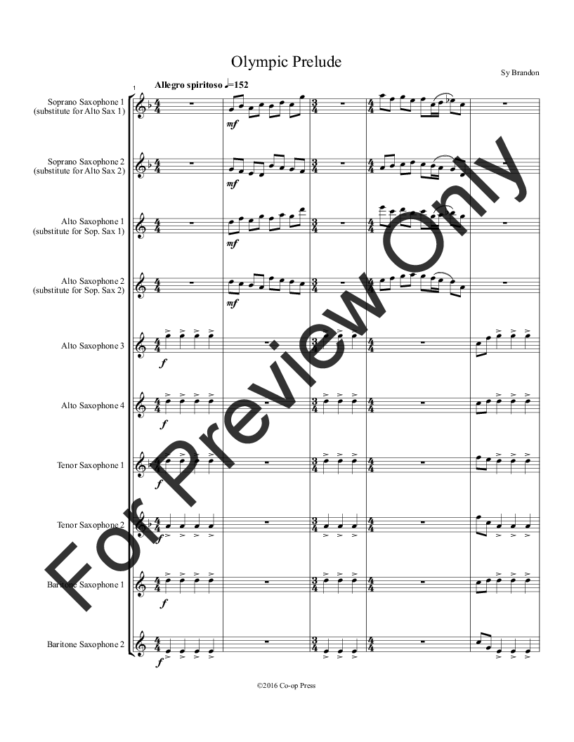 Olympic Prelude for Saxophone Octet Thumbnail