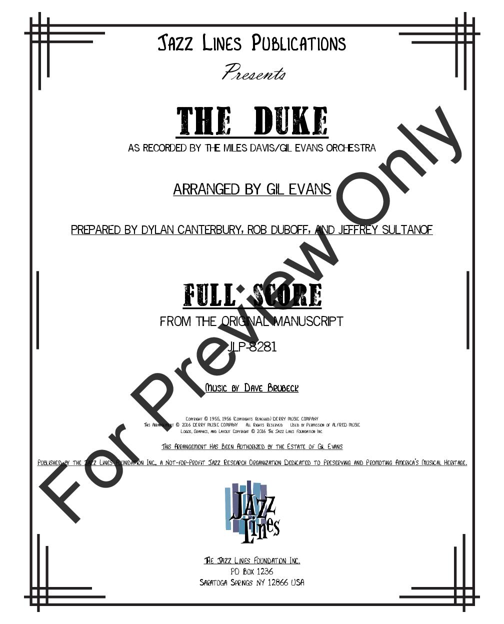 The Duke by Dave Brubeck/arr  Gil Evans  J W  Pepper Sheet Music