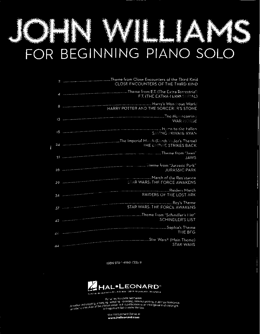 John Williams for Beginning Piano Solo (Piano) by | J W