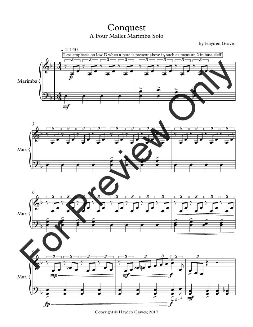 Conquest (Marimba Solo ) by Hayden Grav   J W  Pepper Sheet