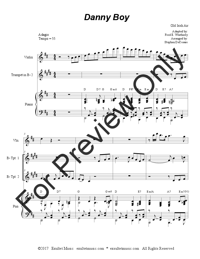 Danny Boy (Duet for Bb-Trumpet) (Trumpet Due | J W  Pepper Sheet