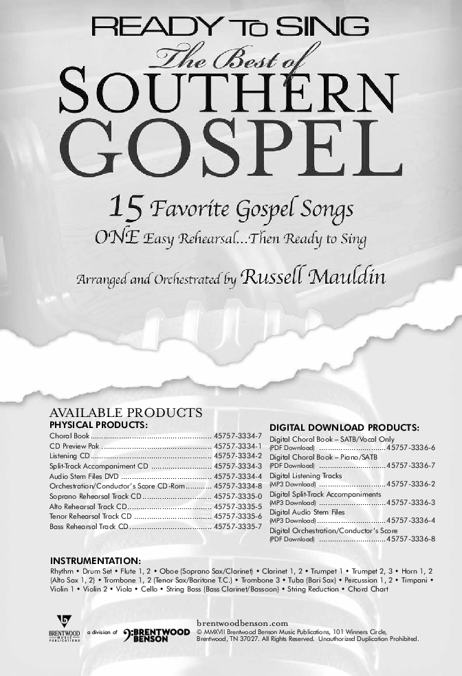 Ready to Sing: The Best of Southern Gospel (SATB& | J W  Pepper