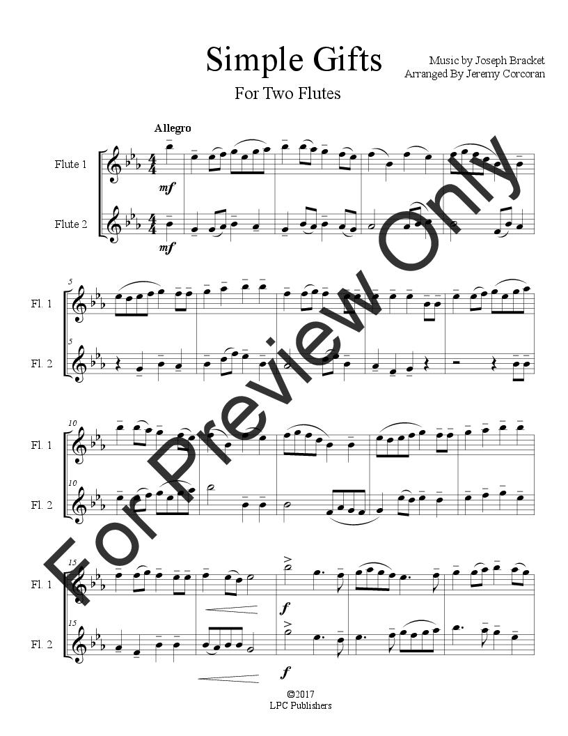 Simple Gifts Flute Duet By Joseph Br Jw Pepper Sheet Music