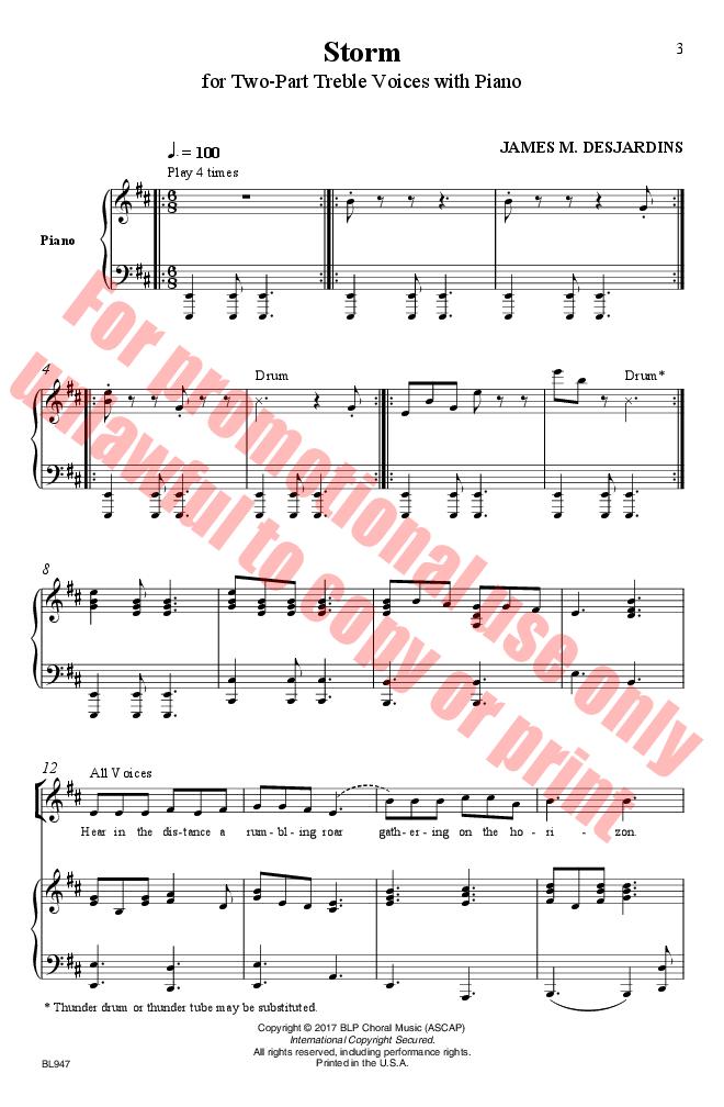 Storm (SA or Two-Part Treble) by James DesJa | J W  Pepper Sheet Music