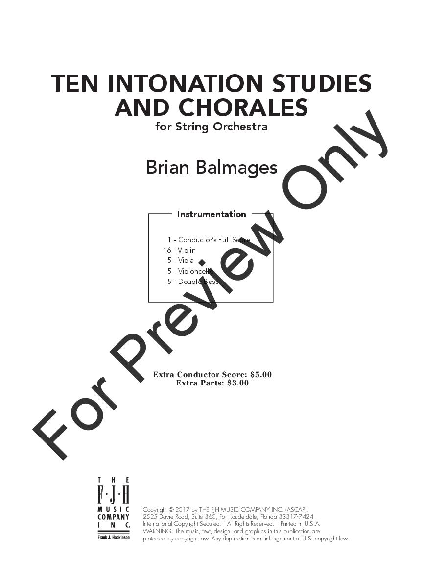 10 Intonation Studies and Chorales by Brian Balma | J W