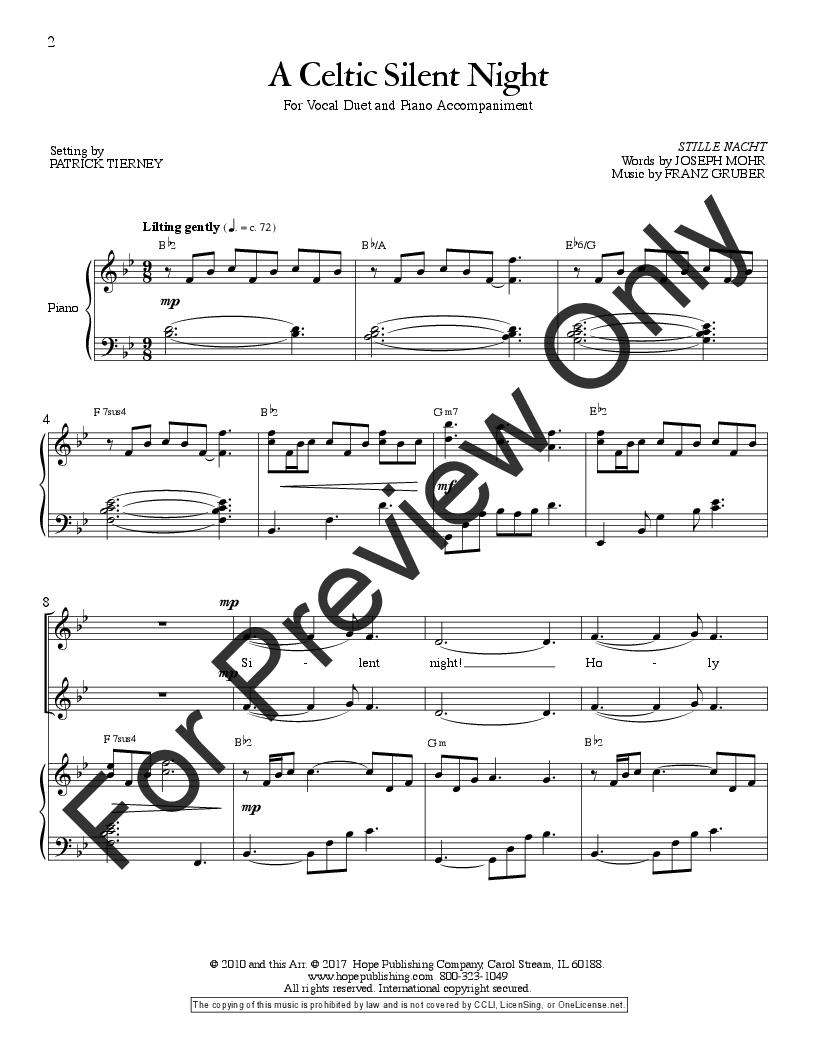 A Celtic Silent Night Medium Duet Ar J W Pepper Sheet Music