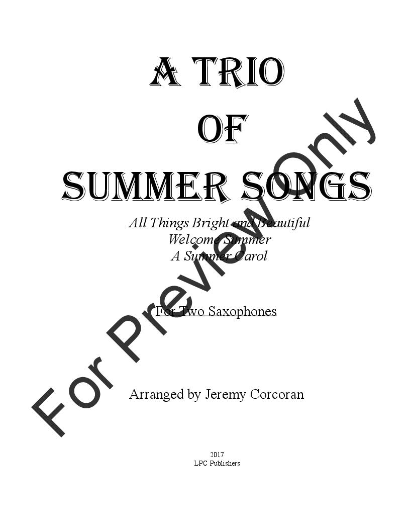 A Trio of Summer Songs (Saxophone Duet | J W  Pepper