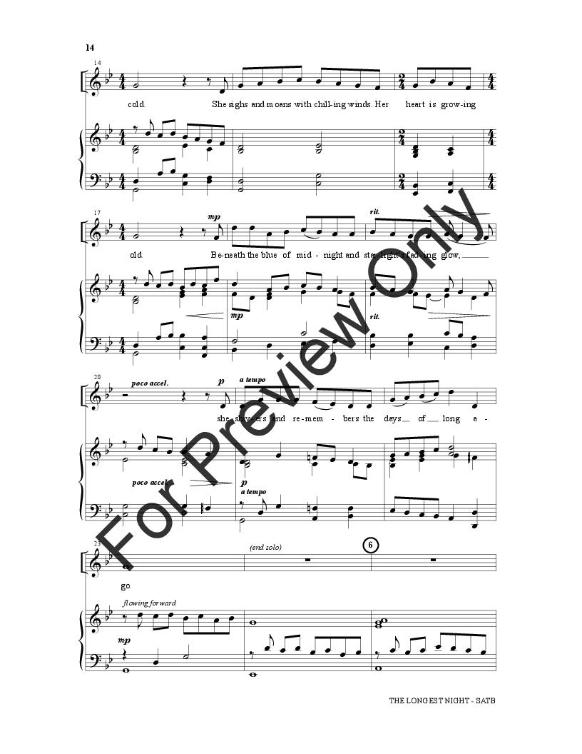 The Longest Night (SATB Choral Score )   J W  Pepper Sheet Music