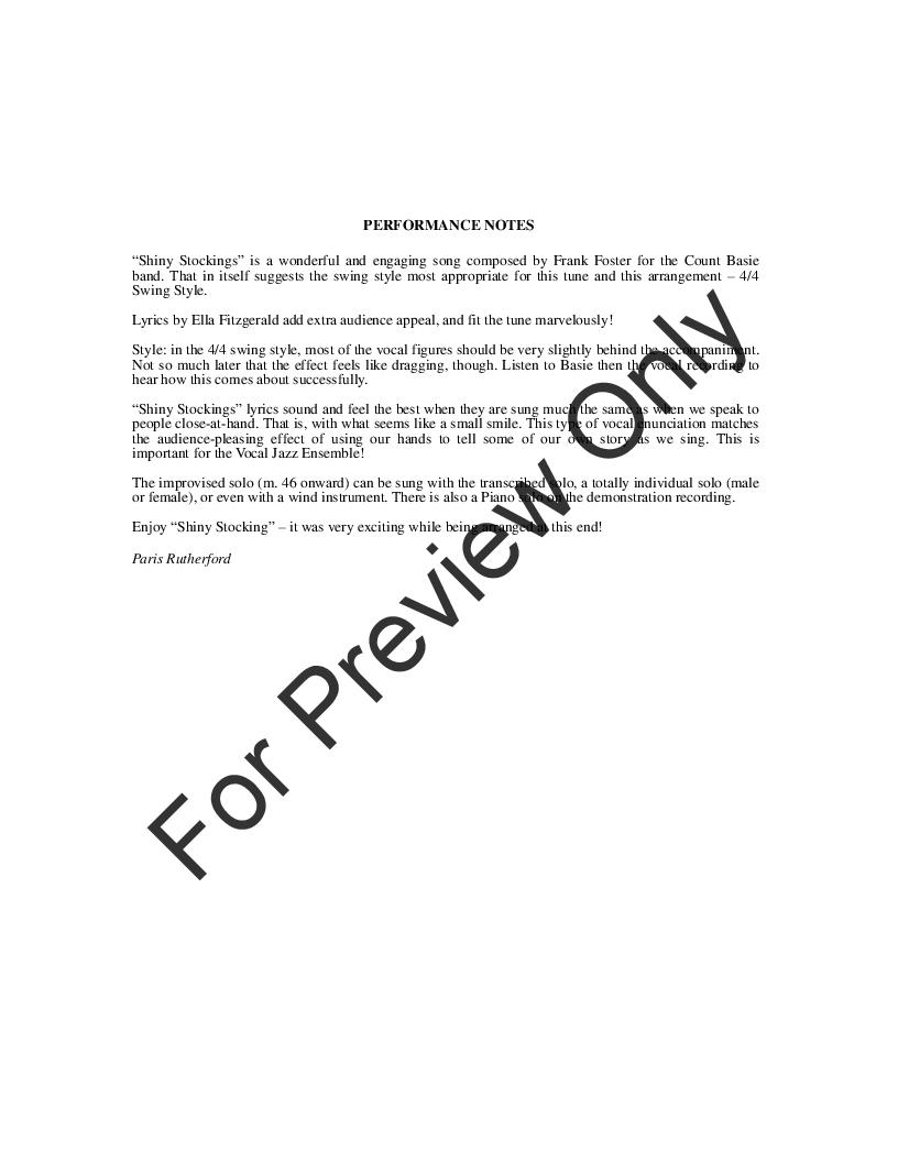 Shiny Stockings (SATB ) arr  Paris Rutherford| J W  Pepper