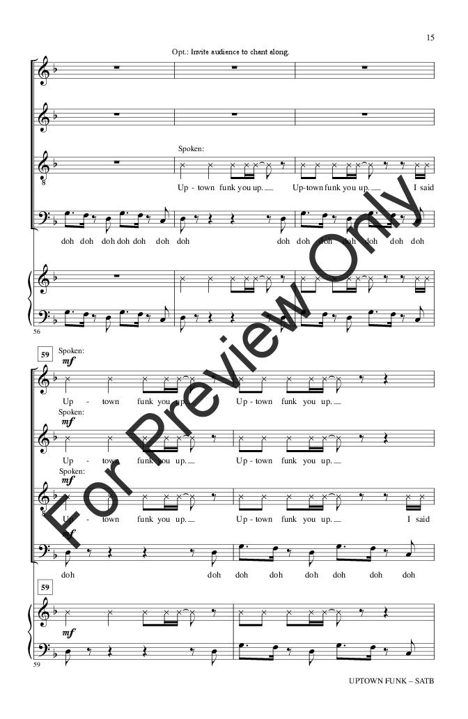 Uptown Funk Satb By Mark Ronson Bruno M Jw Pepper