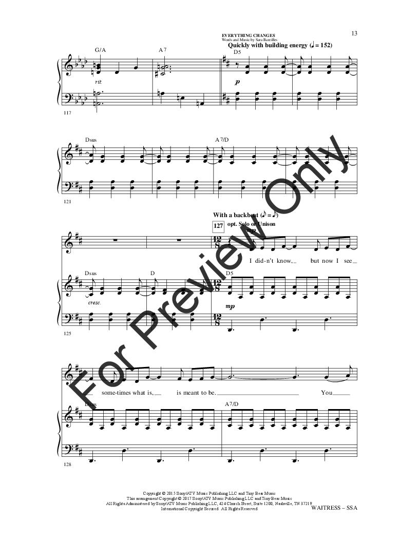 Waitress: Choral Highlights (SSA ) by Sara B   J W  Pepper Sheet Music