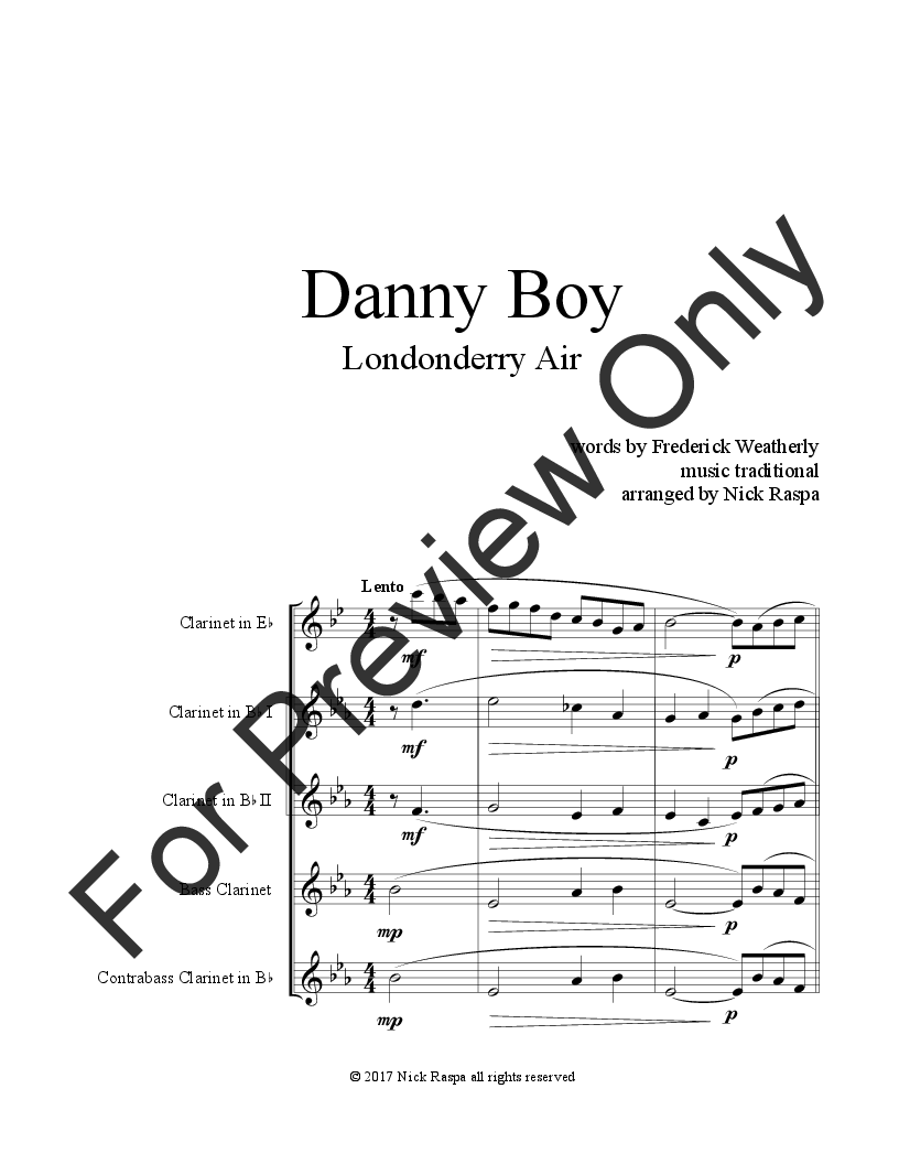 Danny Boy for Clarinet Choir (Eb, 2 Bb, Bass & CBass) Thumbnail