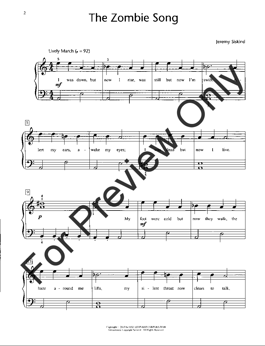 The Zombie Song by Jeremy Siskind| J W  Pepper Sheet Music