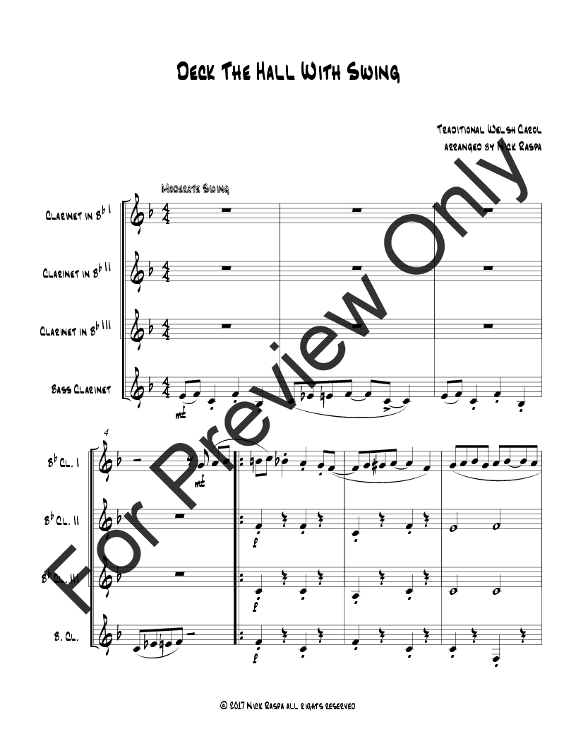 Deck The Hall With Swing (Clarinet Quartet) Thumbnail