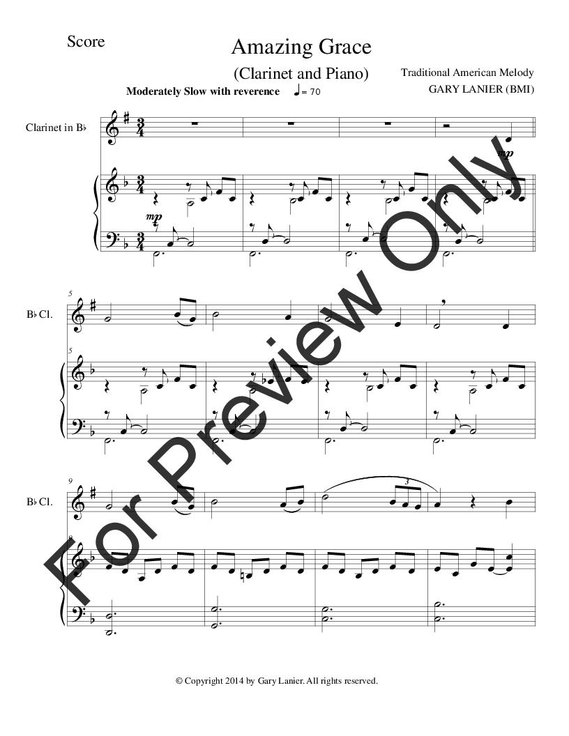 Amazing Grace (B flat Clarinet with Piano) (Clari | J W