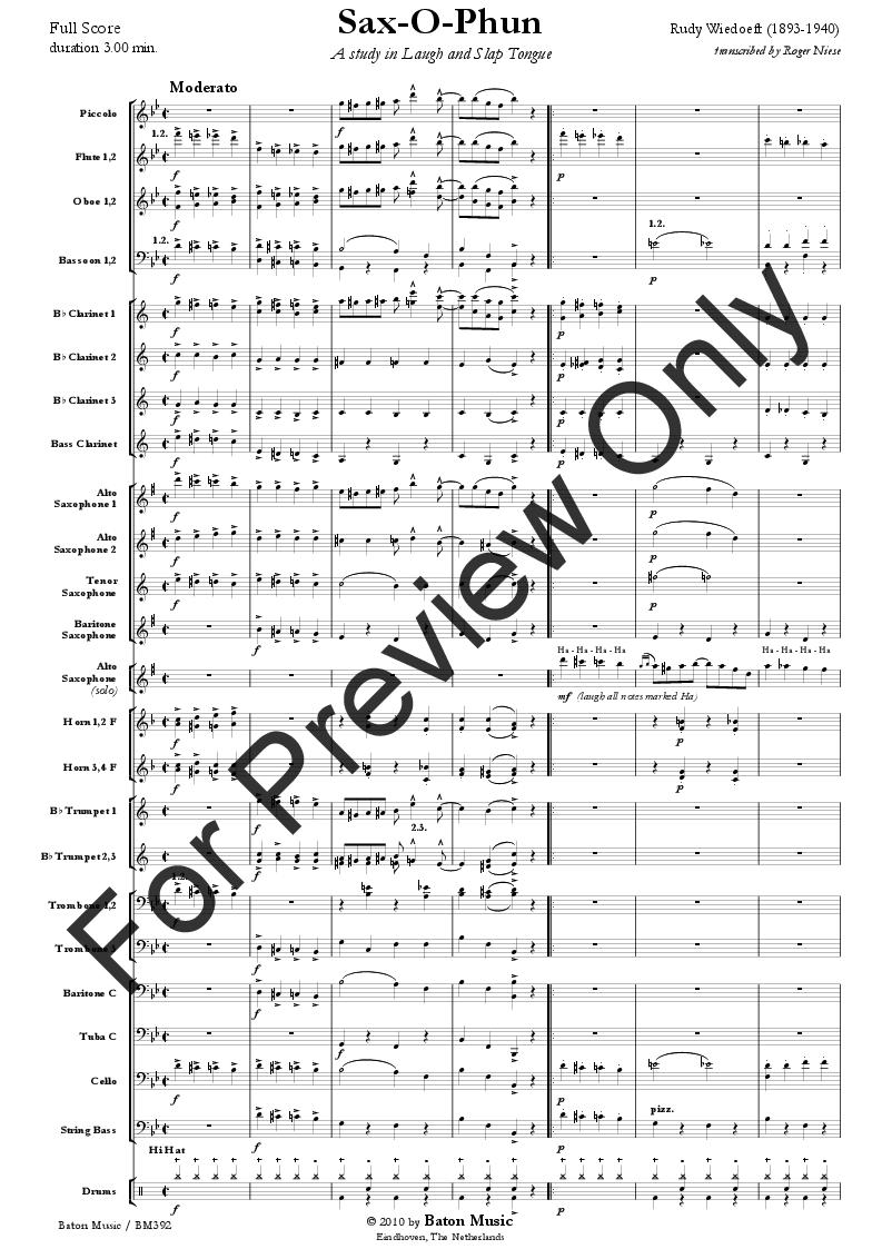Sax O Phun By Rudy Wiedoeft Roger Niese Jw Pepper Sheet
