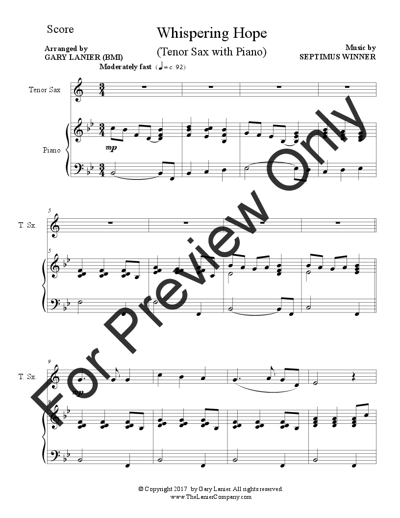 Gospel Hymns for Tenor Sax (Tenor Sax with Piano) | J W  Pepper