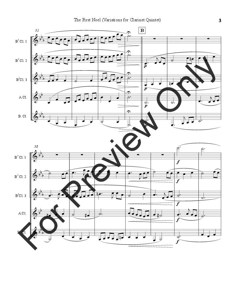 The First Noel (Variations for Clarinet Quintet) Thumbnail