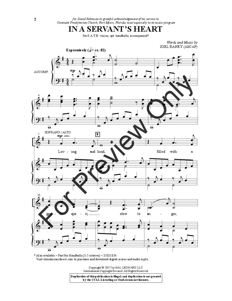 In a Servant's Heart (SATB ) by Joel Raney| J W  Pepper Sheet Music