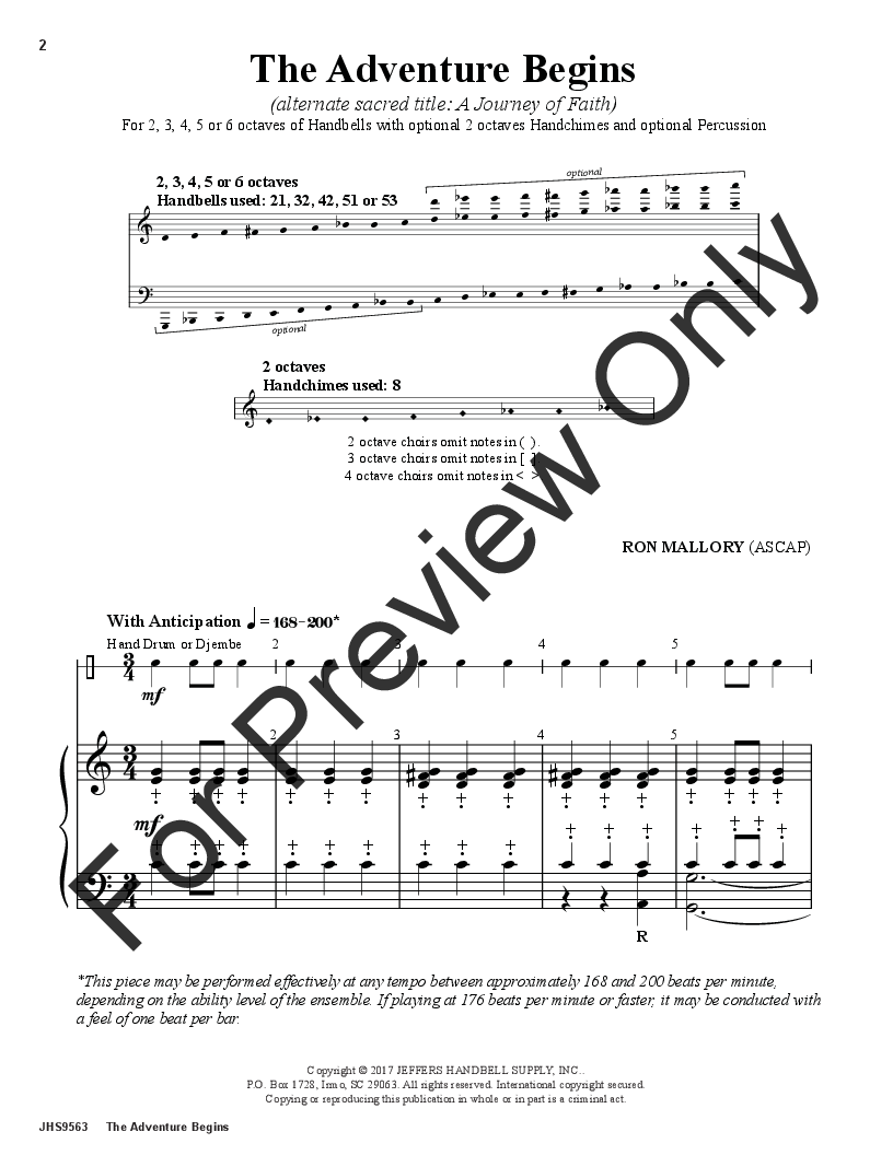 The Adventure Begins by Ron Mallory| J W  Pepper Sheet Music