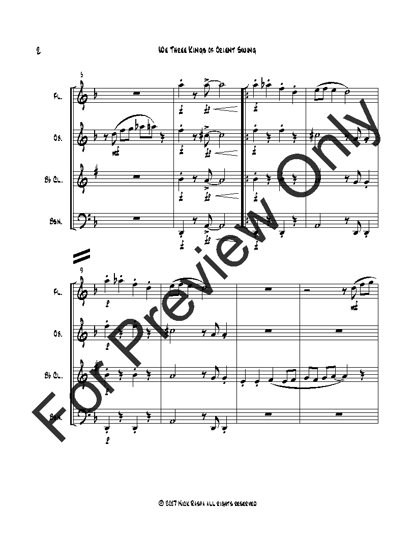 We Three Kings of Orient Swing (easy woodwind quartet) Thumbnail