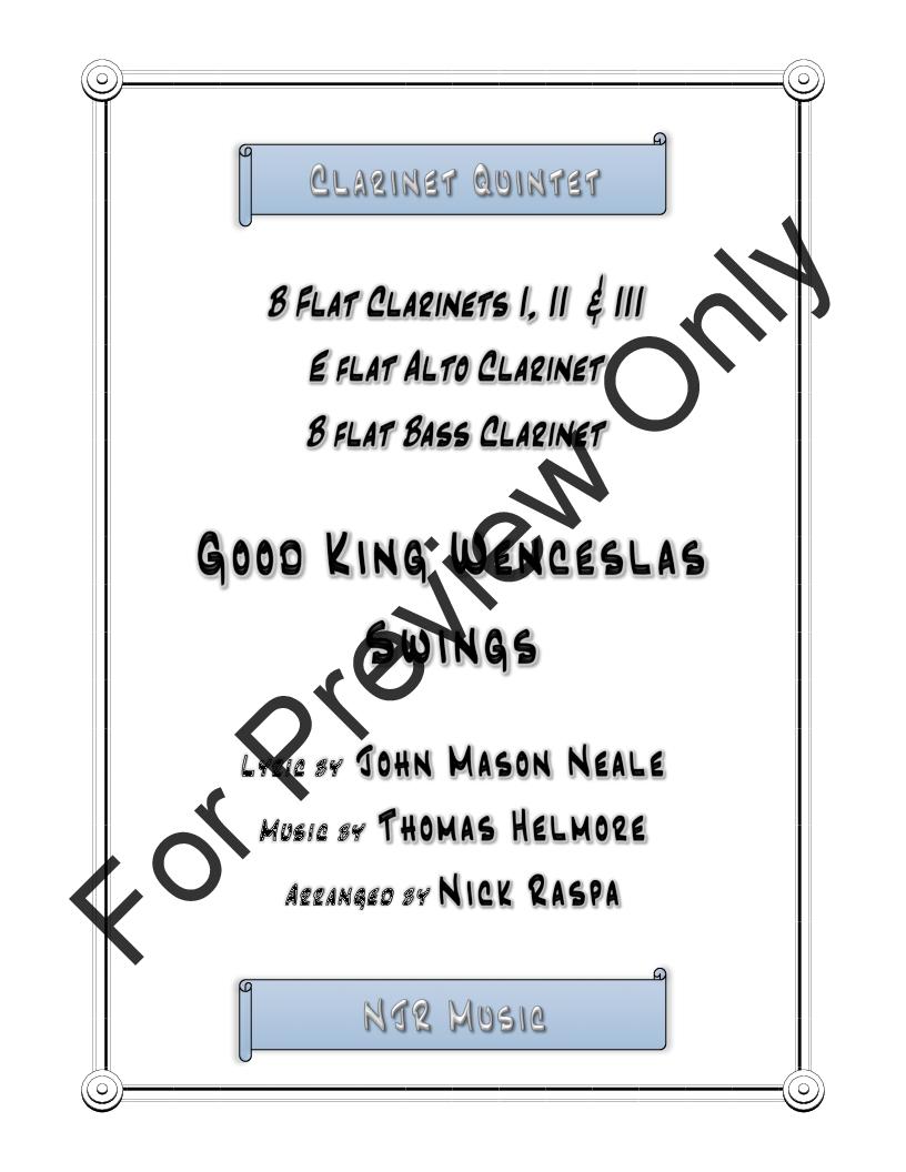 Good King Wenceslas Swings (easy clarinet quintet) Thumbnail