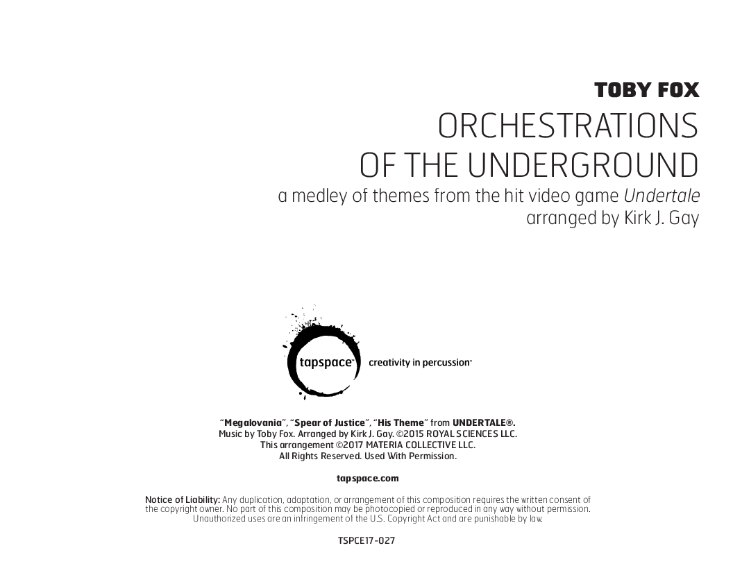 Orchestrations Of The Underground Percussion Nbs J W Pepper Sheet Music