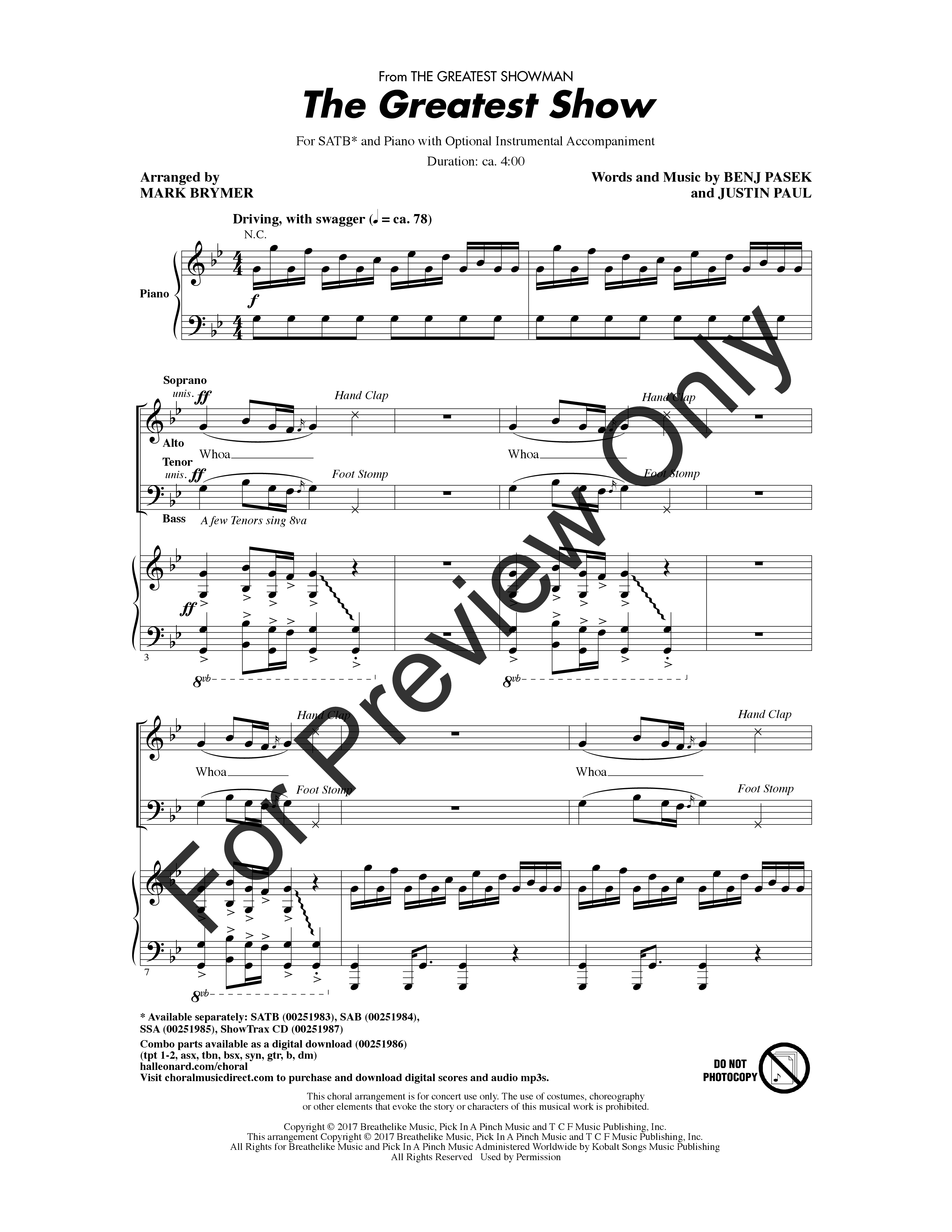 The Greatest Show (SATB ) arr  Mark Brymer| J W  Pepper