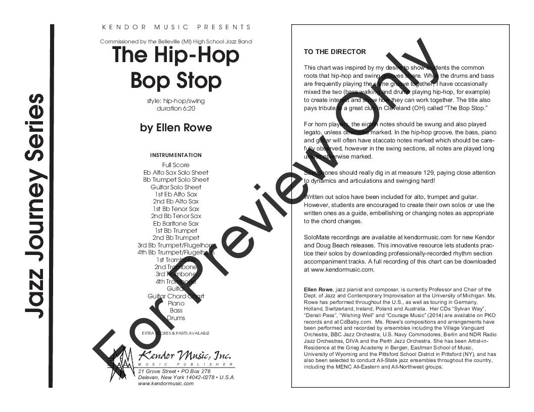 The Hip-Hop Bop Stop by Ellen Rowe| J W  Pepper Sheet Music