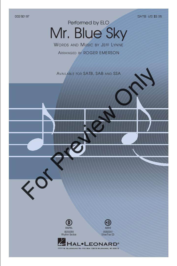 Mr  Blue Sky (SATB ) arr  Roger Emerson| J W  Pepper Sheet