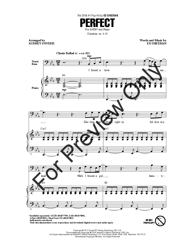 Perfect (SATB ) arr  Audrey Snyder| J W  Pepper Sheet Music