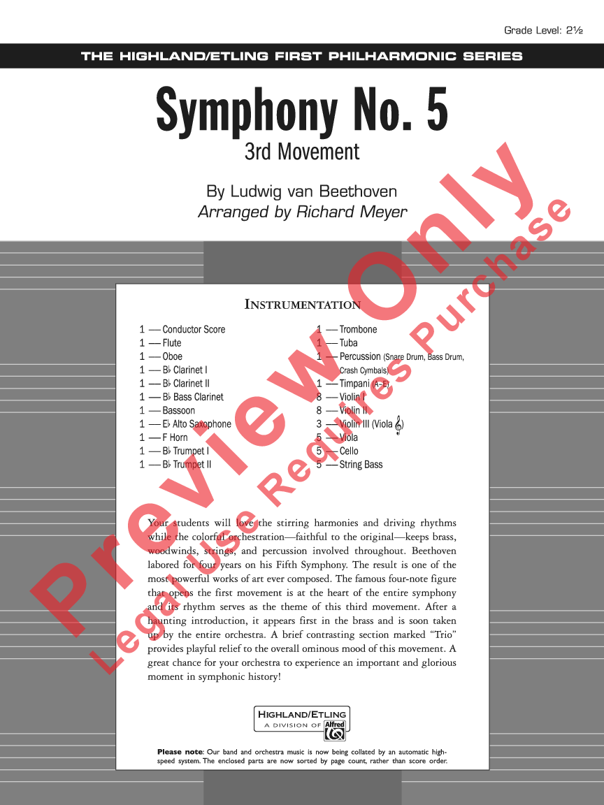 Symphony No  5 by Ludwig van Beethoven/arr  Richa | J W