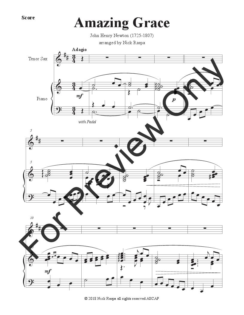 Amazing Grace (Tenor Sax & Piano) Thumbnail