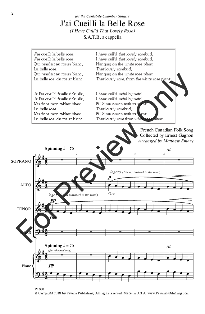 J'ai Cueilli la Belle Rose (SATB ) arr  Matt | J W  Pepper Sheet Music