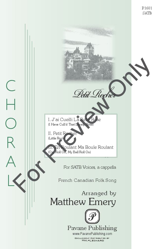 Petit Rocher (SATB ) arr  Matthew Emery| J W  Pepper Sheet Music
