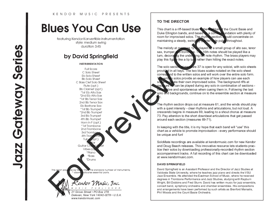 Blues You Can Use by David Springfield| J W  Pepper Sheet
