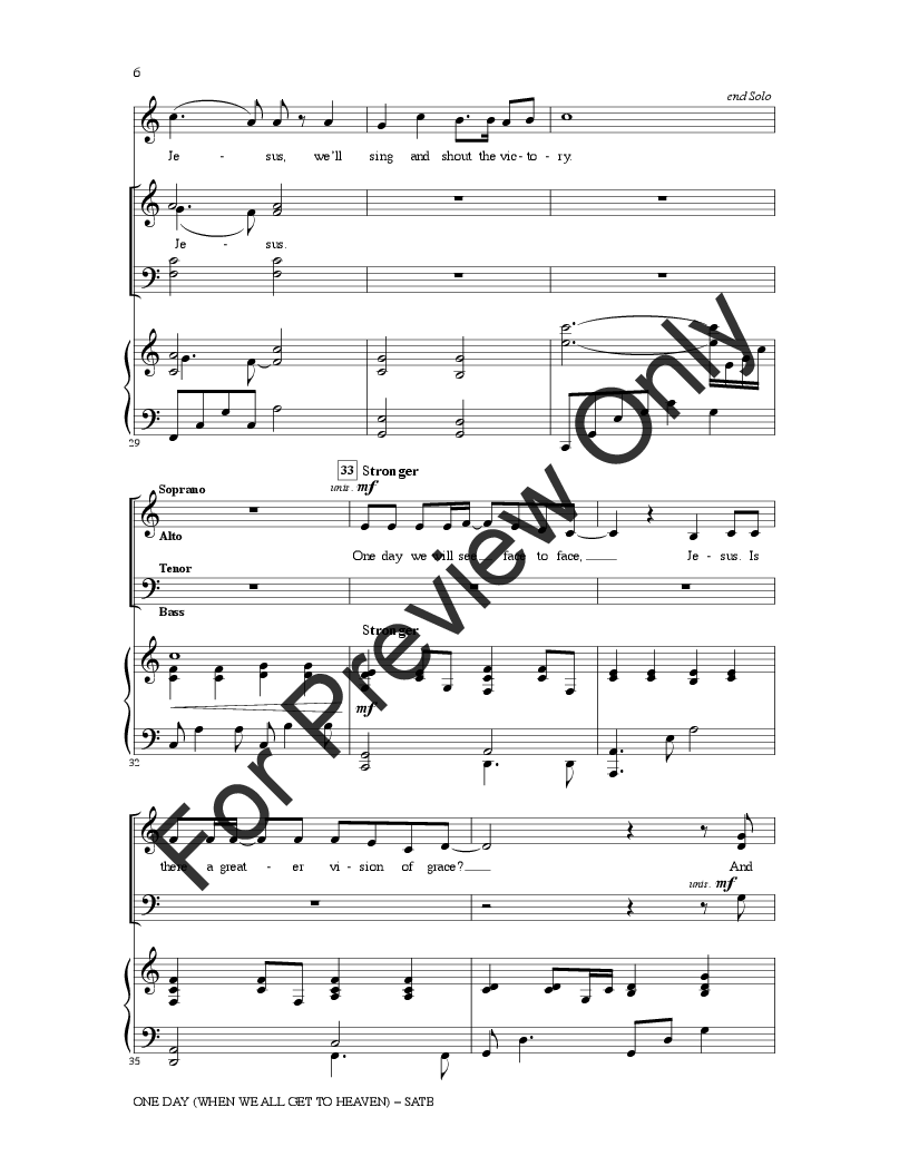 One Day When We All Get to Heaven (SATB ) ar | J W  Pepper Sheet Music