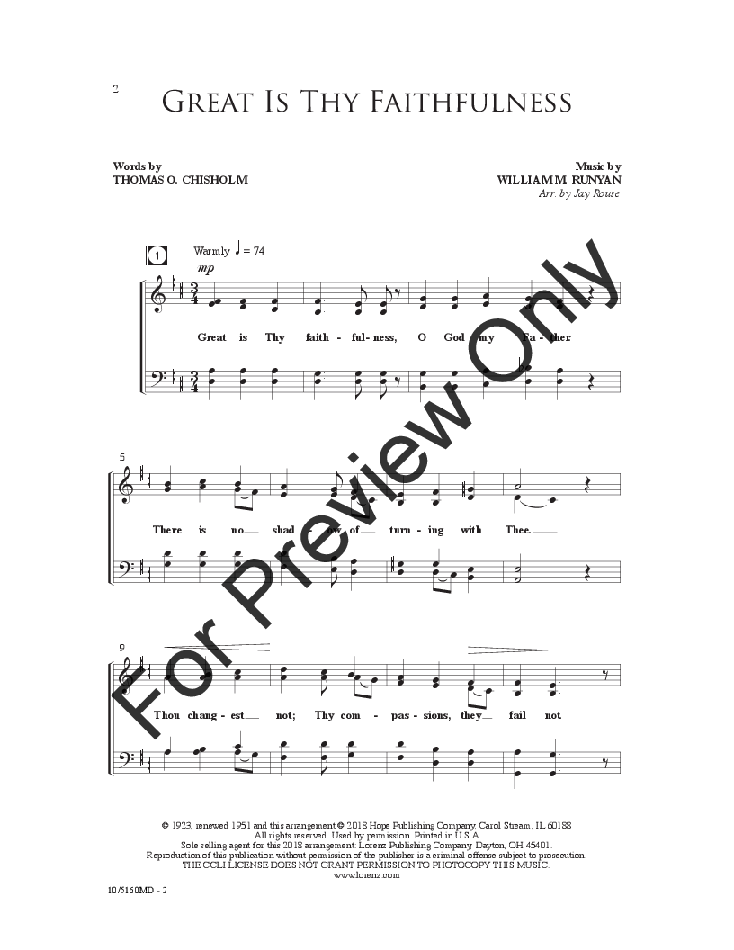 Four Part Hymns (SATB ) arr  Jay Rouse| J W  Pepper Sheet