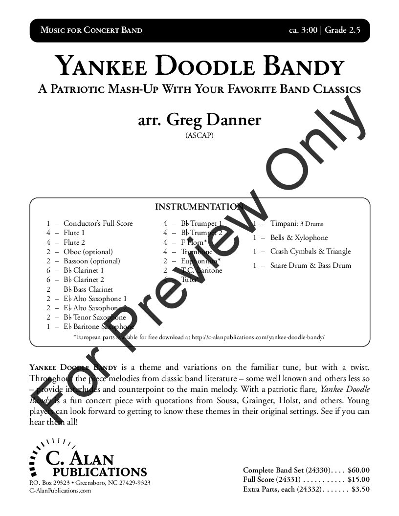 Yankee Doodle Bandy arr  Greg Danner| J W  Pepper Sheet