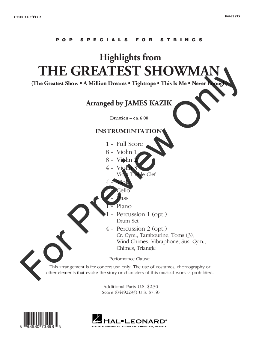 The Greatest Showman by Benj Pasik & Justin Paul/ | J W