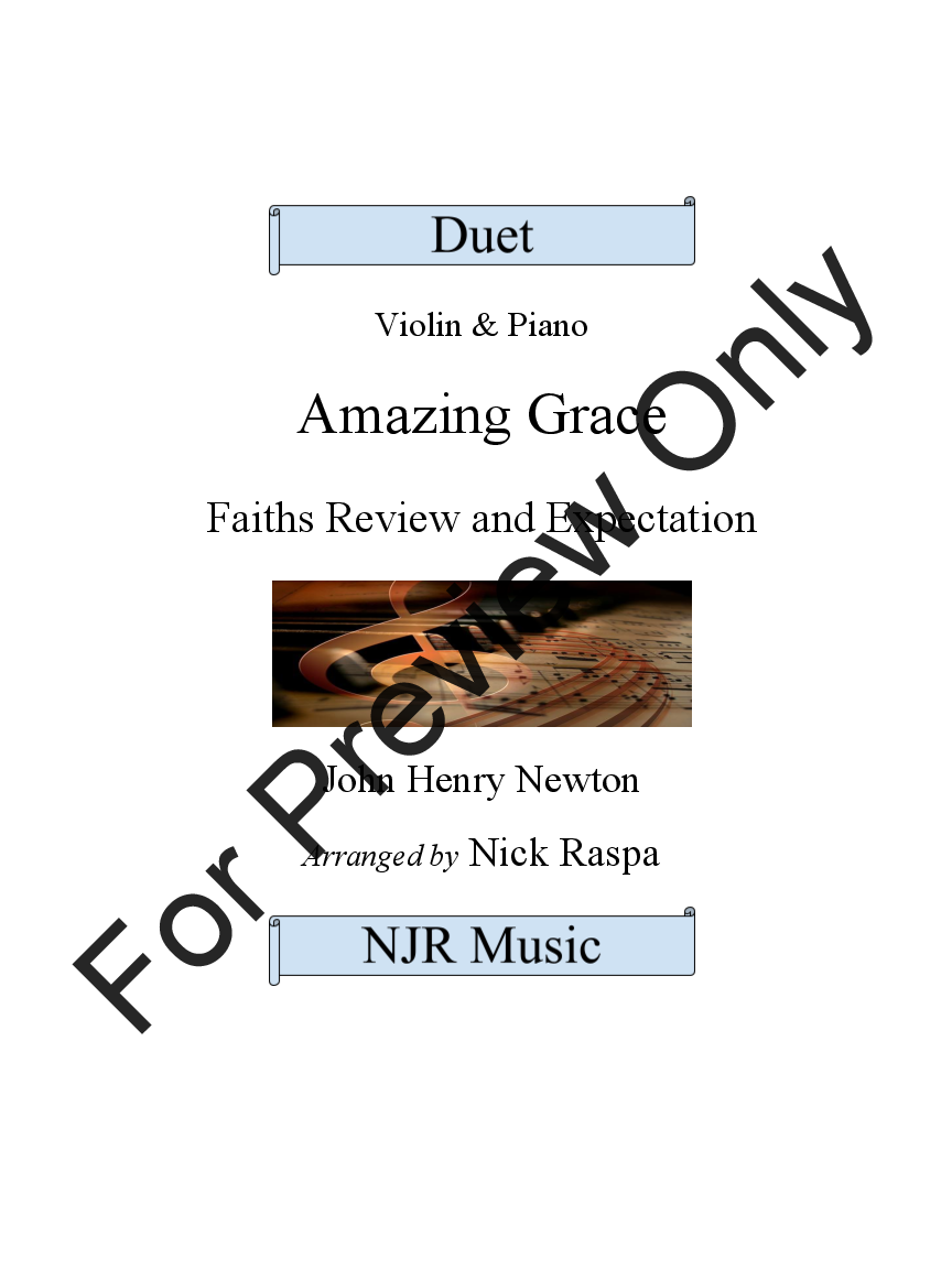 Amazing Grace - Duet - Violin & Piano Thumbnail